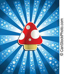 Red Magic Mushroom - Vector illustration of a red magic...