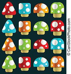 Mini Magic Mushrooms - Vector set of mini magic mushrooms.
