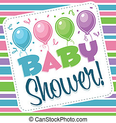 Baby Shower Illustration - Baby shower illustration with...