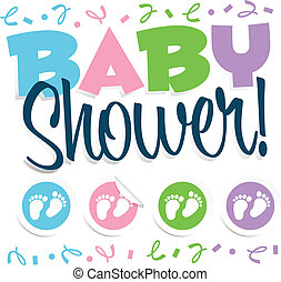 Baby Shower Illustration - Vector baby shower illustration...