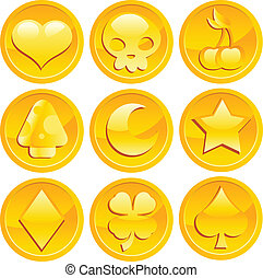 Game Gold Coins - Vector set of fun golden game coins.