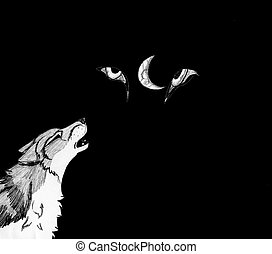 Howling Wolf at Night - Timber wolf with part moon and eyes...