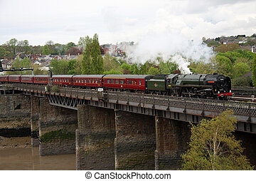 "UK Steam Engine - 70013 ""Oliver Cromwell"" crossing the River..."