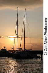 Boats at sunset - Boats at Yarmouth Harbour IOW UK