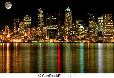 Seattle Business District At Night with Full Moon - This...
