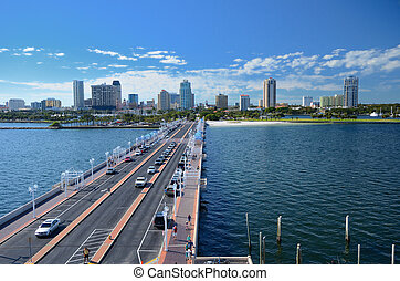 st. pete - skyline and pier of st. pete, florida