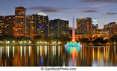 Orlando Skyline - Skyline of Orlando, Florida from lake Eola...