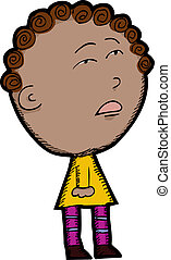 Mixed Race Child - Cartoon of innocent looking mixed race...