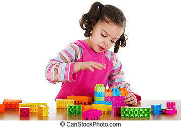 Preschooler playing - Stock image of little girl playing...