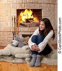 feliz, adolescente, niña, invierno, ropa, Sentado,...