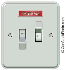 Emotions on and off - A white plastic light switch turned on...