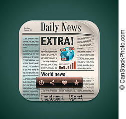 Vector square newspaper XXL icon - Detailed icon...