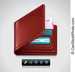 Vector leather wallet XXL icon - Detailed icon representing...