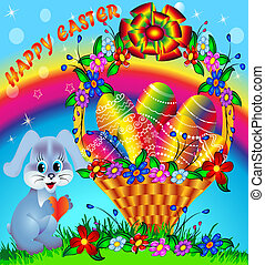 festive basket with painted egg and rabbit - illustration...