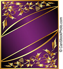 background with golden grape pattern and band - illustration...
