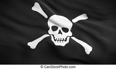 Jolly Roger Flag HD. Looped. - HD 1080. Highly detailed...