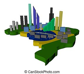 abstract skyscrapers on Brazil map flag illustration