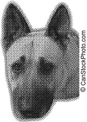 Vector dog - halftone effect