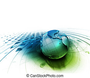 abstract technology background with the planet on a white...