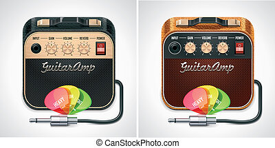 Vector guitar amplifier with picks - Detailed icon...
