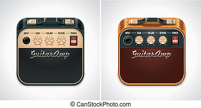 Vector guitar amplifier square XXL - Detailed square icon...