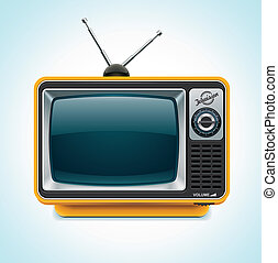 Vector retro TV XXL icon - Detailed icon representing yellow...