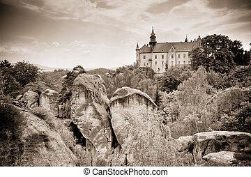 castle in rocky landscape - Hruba Skala - Hruba Skala...
