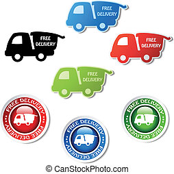 Vector stickers of free delivery