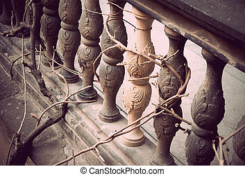 Bannister - Close up of a bannister with a plant