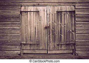 viejo, gris, de madera, puerta