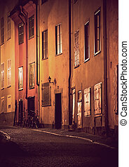 Stockholm Old Town - Evening scene from Gamla Stan, the Old...