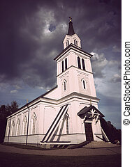 Wooden country church - Old traditional swedish wooden...