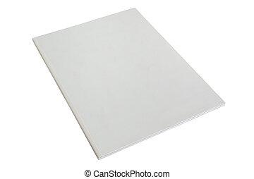 em branco, branca, folheto, ou, revista, cobertura