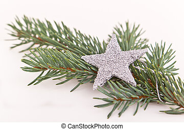Christmas tree with star - decorated Christmas tree on white...