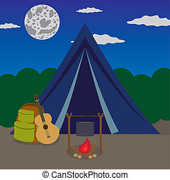 Night camping. - Fireplace near tent in forest at the night.