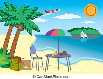 Vacation at the seashore. - Chair and table under palm with...