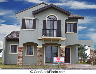House ready for occupancy - Real estate sign in front of a...
