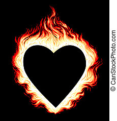 Burning heart - Illustration of burning heart shape on black...