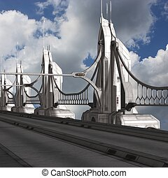 Sci-Fi Background with a bridge - 3d render of a Sci-Fi...