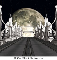 Sci-Fi Background with a bridge