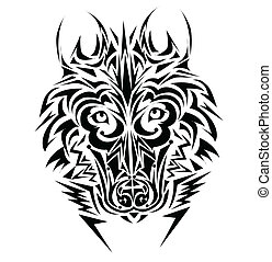 Lobo, tribal, tatuagem, estilo