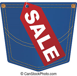 Jeans Pocket With Sale Tag