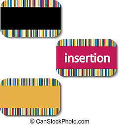 Vector insertion cards with striped design