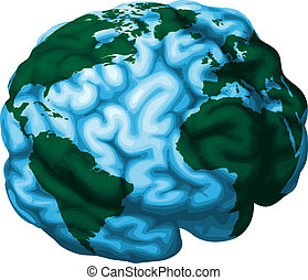 Brain world globe illustration - A conceptual illustration...