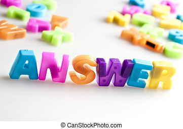 Answer word made by color letters