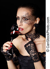 sommelier - portrait of beautiful brunette woman sommelier...