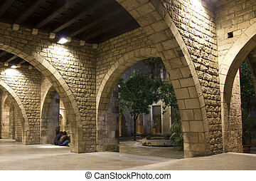 Gothic Quarter of Barcelona. - Small corner arched Gothic...