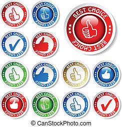 Vector set of best choice stickers