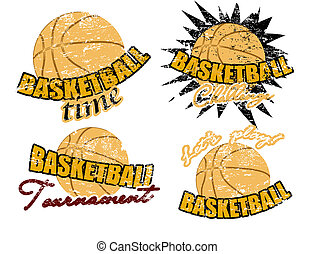 Basketball stamps - Set of basketball stamps, vector...