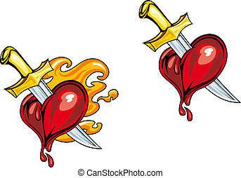 Cartoon heart with knife